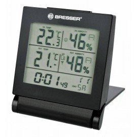THERMO-HYGROMETER PORTABLE WITH ALARM CLOCK BRESSER MYTIME TRAVEL