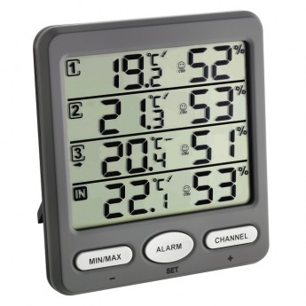 'Klima-Monitor' wireless thermo-hygrometer inclusive 3 transmitters TFA